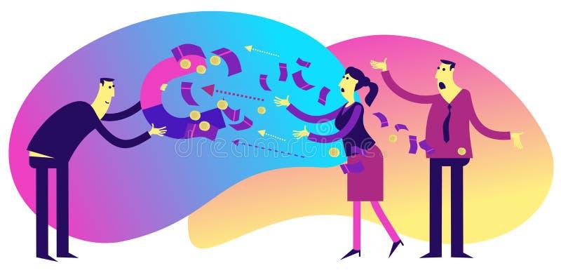 Vlak illustratieontwerp voor presentatie, Web, landingspagina, infographics: de mannen van beeldverhaalkarakters zakenlieden en v royalty-vrije illustratie