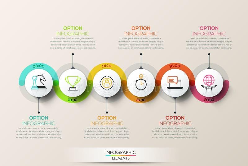 Vlak infographic het ontwerpmalplaatje van de verbindingschronologie met kleurenpictogrammen royalty-vrije illustratie