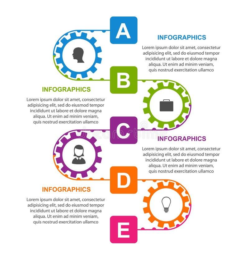 Vlak infographic ontwerpmalplaatje met kleurentoestellen stock illustratie