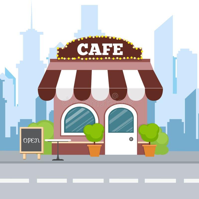 Vlak isometrisch ontwerp Kleurrijke buildi van het koffie isometrische restaurant stock illustratie
