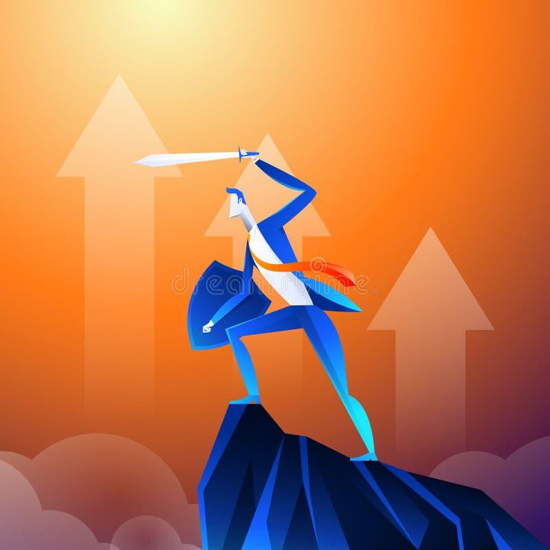 Vlak Isometrisch Vectorconcept Een zakenman die als een superhero kijkt toont zwaard op berg royalty-vrije illustratie