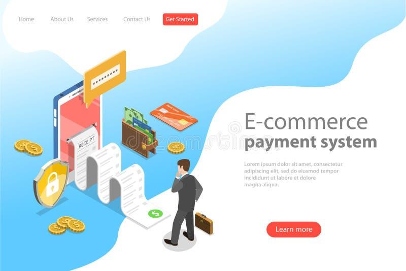Vlak isometrisch vectorlandingspaginamalplaatje van het systeem van de e-commercebetaling royalty-vrije illustratie