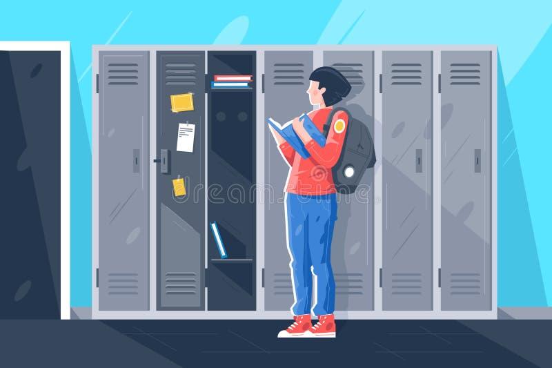 Vlak jong meisje met boek bij schoolkasten vector illustratie