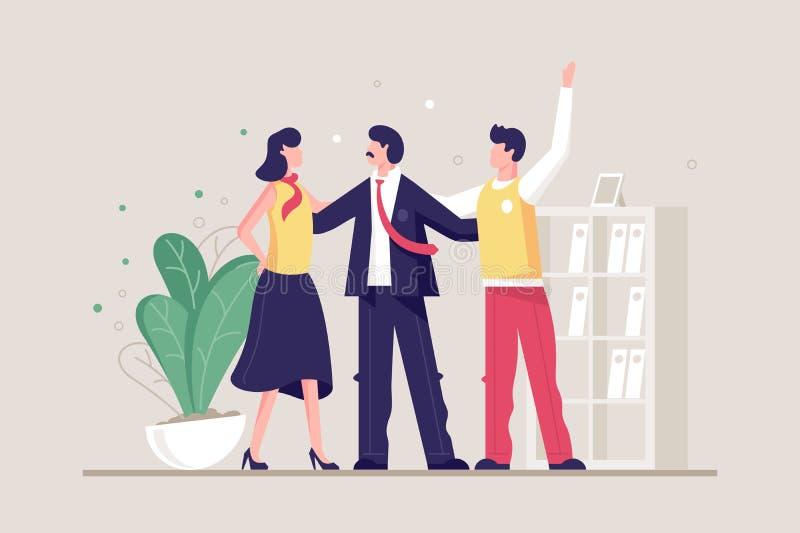 Vlak jong vriendschappelijk team met de mens en vrouw in bureau royalty-vrije illustratie