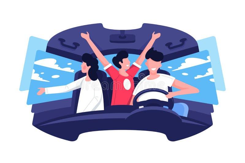 Vlak jonge man en vrouwenbedrijf in auto in reis stock illustratie