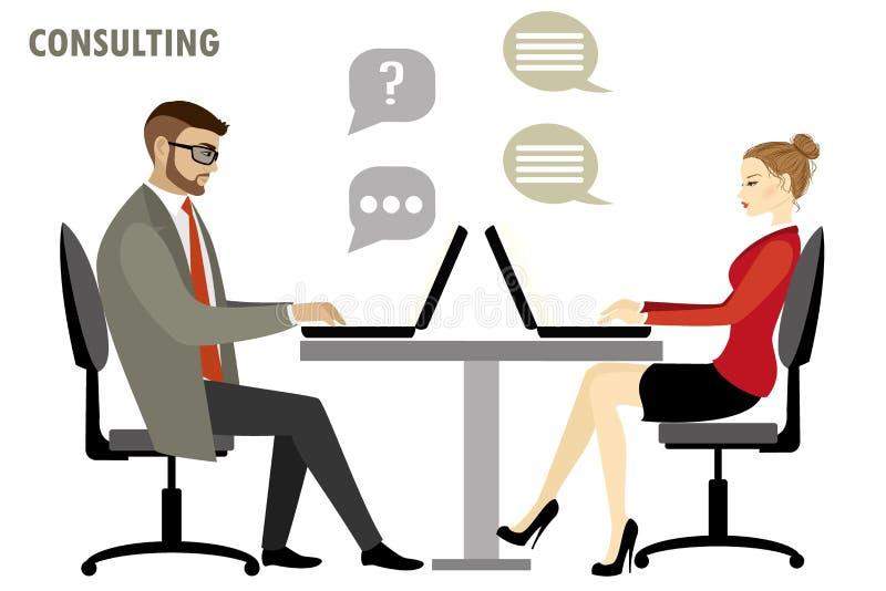 Vlak karakter van bedrijfs het raadplegen concept vector illustratie