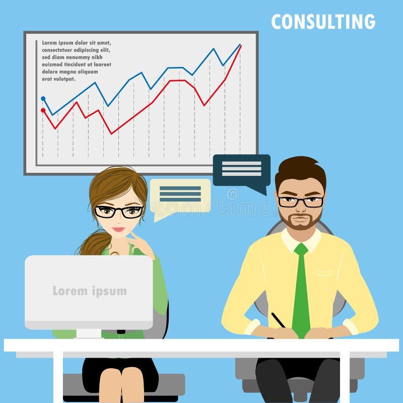 Vlak karakter van bedrijfs het raadplegen concept royalty-vrije illustratie