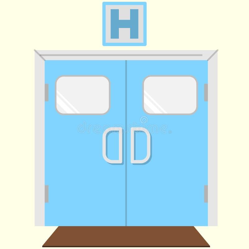 Vlak kleurenpictogram voor het ziekenhuisingang vector illustratie