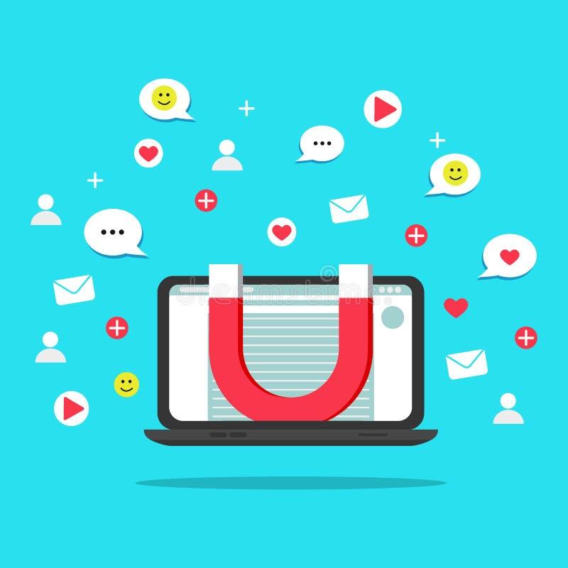 Vlak kleurrijk vectorillustratieconcept voor digitale marketing, sociale campagne, die met aanhangers in dienst nemen Illustratie vector illustratie