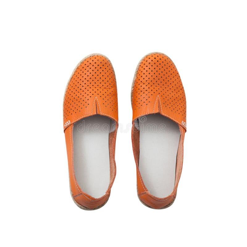 Vlak leg de schoenen toevallig ontwerp van de vrouwen` s manier op witte geïsoleerde achtergrond royalty-vrije stock foto's