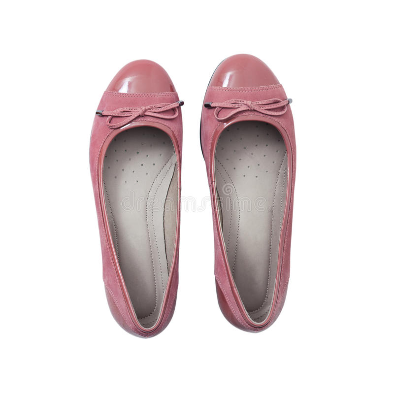 Vlak leg de schoenen toevallig ontwerp van de vrouwen` s manier op witte geïsoleerde achtergrond stock foto's