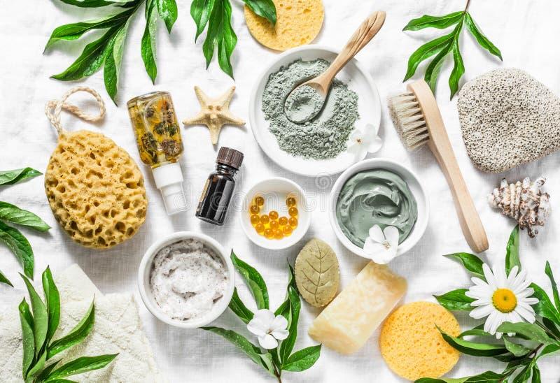 Vlak leg de zorgingrediënten van de schoonheidshuid, toebehoren Natuurlijke schoonheidsproducten op een lichte achtergrond royalty-vrije stock afbeeldingen