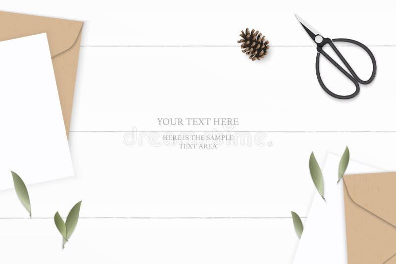 Vlak leg het hoogste het document van de brievenkraftpapier van de menings elegante witte samenstelling blad van de envelopdennea vector illustratie