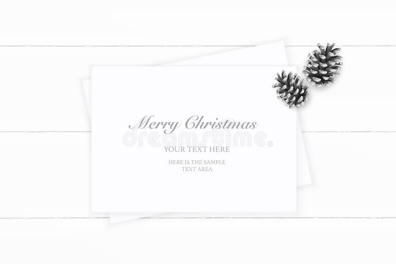 Vlak leg hoogste de samenstellingsdocument van menings elegante witte Kerstmis denneappel op houten achtergrond Het ontwerp van d royalty-vrije illustratie