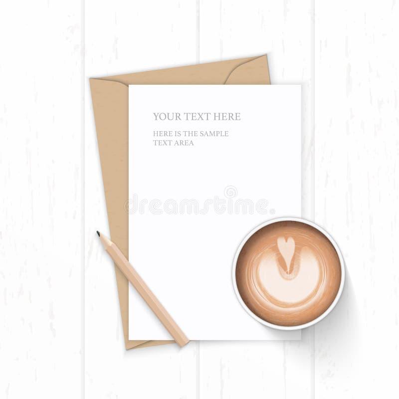 Vlak leg hoogste het document van de brievenkraftpapier van de menings elegant wit samenstelling envelopkoffie en potlood op hout royalty-vrije illustratie