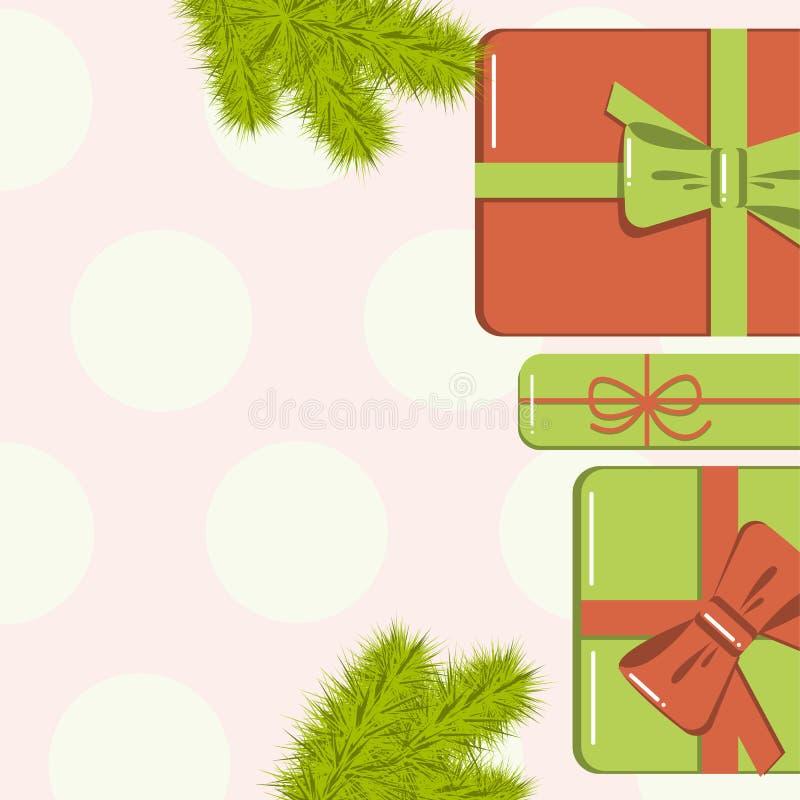 Vlak leg Kerstmismodel met spartakken, heldere giftdozen met boog en sterren en kleurrijke achtergrond Malplaatje voor nieuw jaar stock illustratie