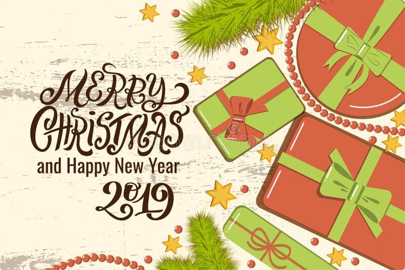 Vlak leg Kerstmismodel met spartakken, heldere giftdozen met boog, parels en sterren bij het houten Vrolijk van letters voorzien  stock illustratie