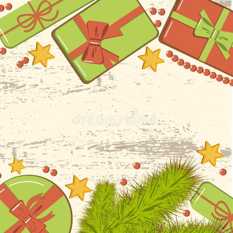 Vlak leg Kerstmismodel met spartakken, heldere giftdozen met boog, parels en sterren op houten achtergrond Malplaatje voor Nieuw vector illustratie