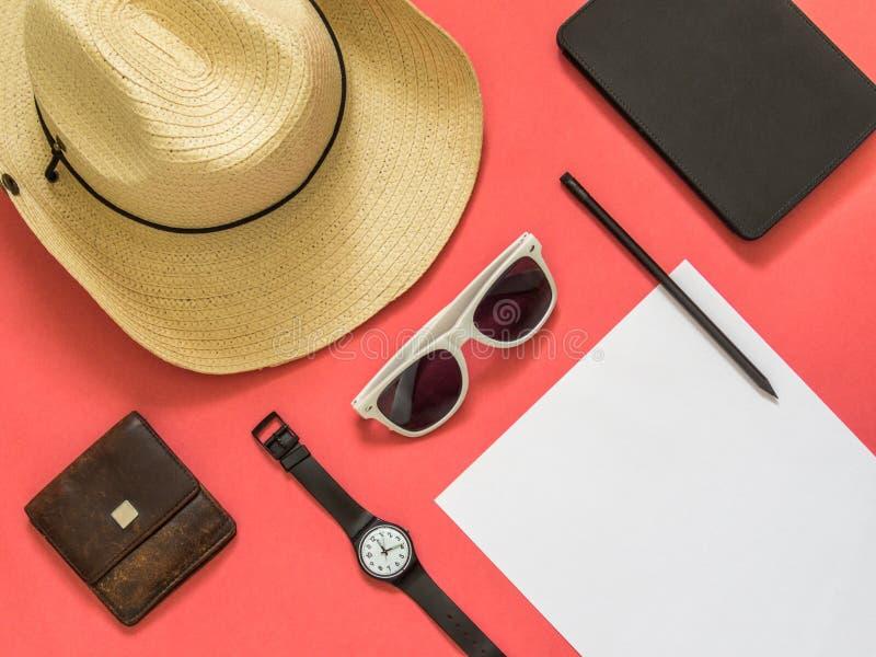 Vlak leg reizigerstoebehoren op roze achtergrond met spatie spac royalty-vrije stock fotografie