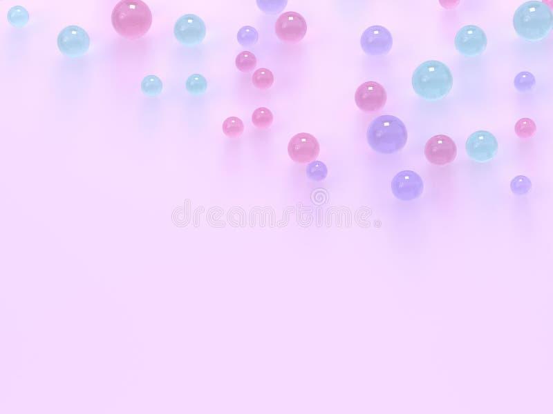 vlak leg roze pastelkleurscène vele gebieden/bal de kleurrijke 3d ruimte van het bodemexemplaar teruggeeft stock illustratie