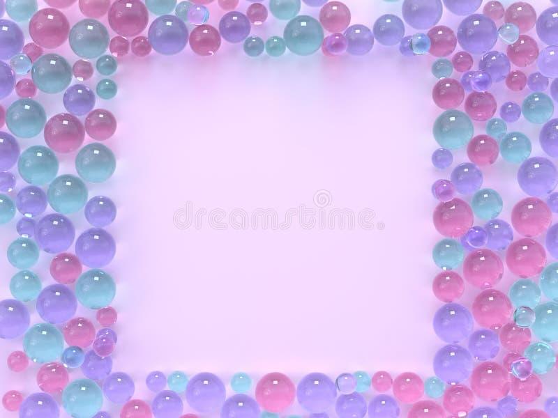 Vlak leg roze pastelkleurscène vele gebieden/het exemplaar van het bal het kleurrijke vierkante kader ruimte 3d teruggeven royalty-vrije illustratie