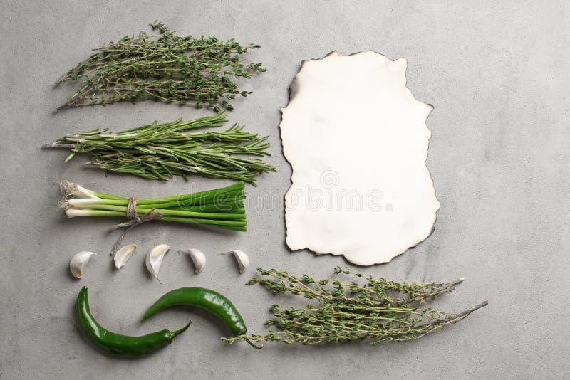 Vlak leg samenstelling met groene Spaanse peper, verse kruiden en leeg document op grijze achtergrond stock afbeeldingen