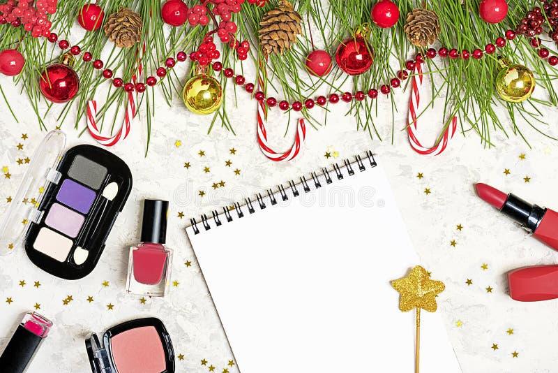 Vlak leg samenstelling met make-upproduct de vastgestelde oogschaduw, lippenstift, nagellak, stichting bloost De boomtak van het  stock afbeeldingen