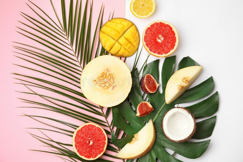 Vlak leg samenstelling met meloen en andere vruchten kleuren achtergrond royalty-vrije stock fotografie