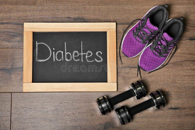 Vlak leg samenstelling met woorddiabetes royalty-vrije stock foto