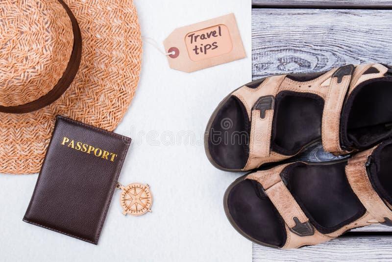Vlak leg stijl van de zomertoebehoren en reispunten royalty-vrije stock foto's