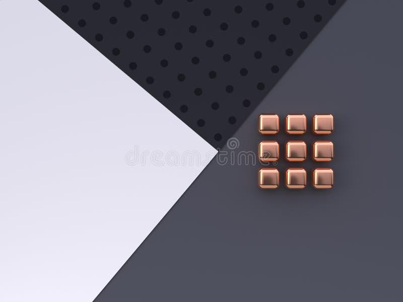 Vlak leg van de de vloer abstracte geometrische vorm van het scène het witte grijze zwarte patroon goud/het koper metaal 3d terug royalty-vrije illustratie
