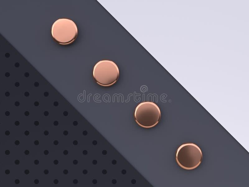 Vlak leg van de de vloer abstracte geometrische vorm van het sc?ne het witte grijze zwarte patroon goud/het koper metaal 3d terug stock illustratie