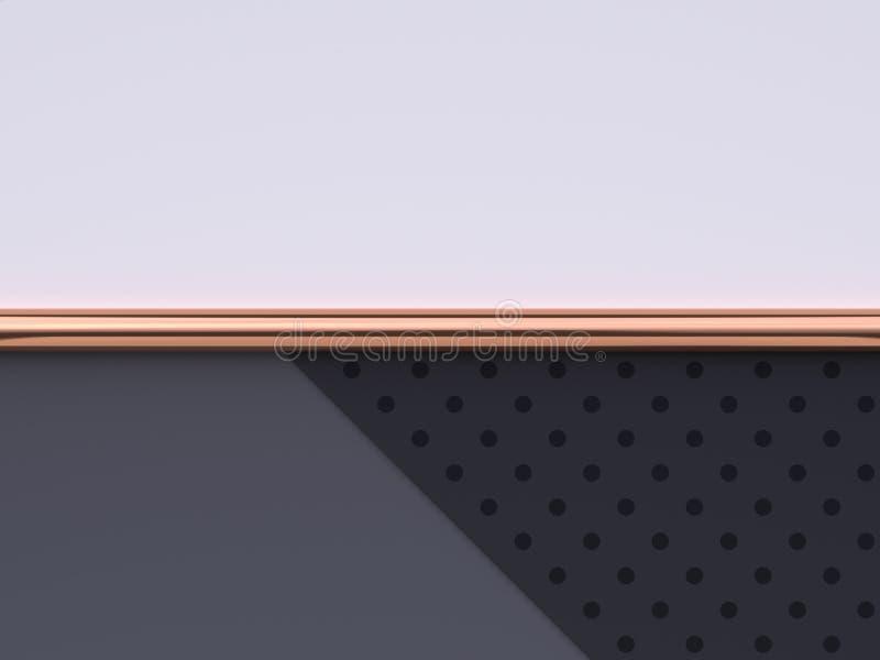 Vlak leg van de de vloer abstracte geometrische vorm van het sc?ne het witte grijze zwarte patroon goud/het koper metaal 3d terug vector illustratie