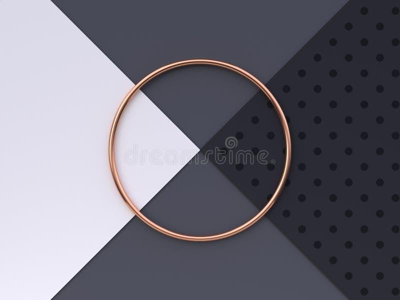 Vlak leg van de de vloer abstracte geometrische vorm van het sc?ne het witte grijze zwarte patroon het goud/het koper metaal 3d t stock illustratie
