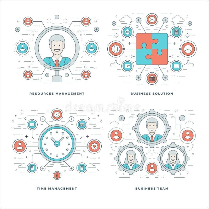 Vlak lijnbeheer, Team Building, Succes, Werknemersonderzoek stock illustratie