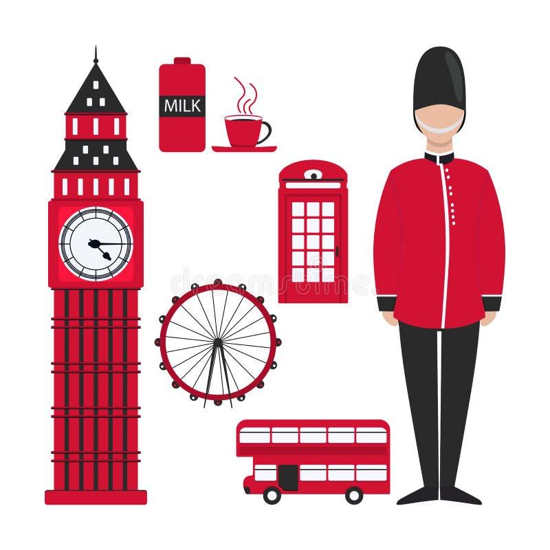 Vlak Londen voor decoratieontwerp De horizon van Londen Rood Londen in moderne stijl op witte achtergrond stock illustratie