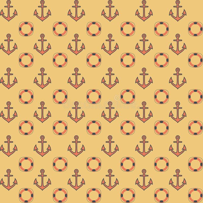 Vlak marinepatroon met ankers royalty-vrije illustratie