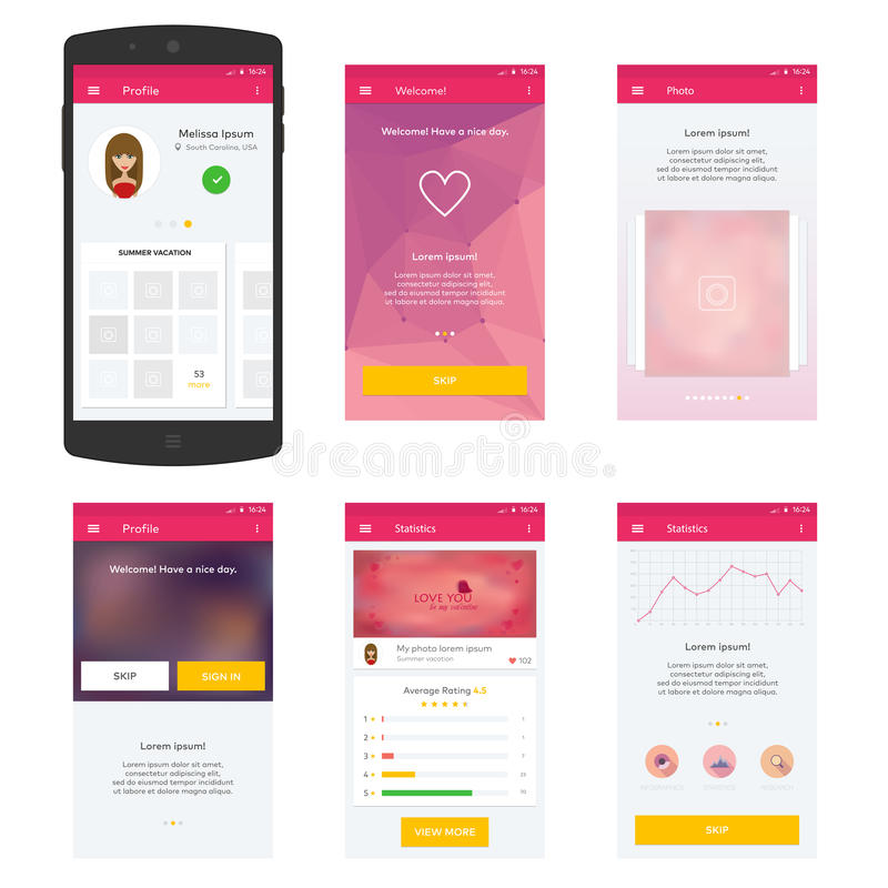 Vlak Mobiel Webui Concept voor mobiel vector illustratie