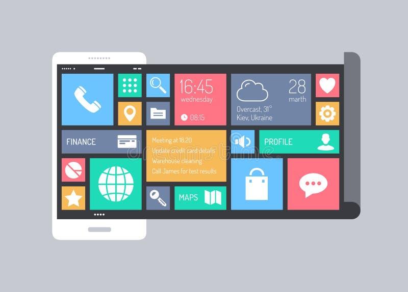 Vlak modern mobiel gebruikersinterfaceconcept royalty-vrije illustratie