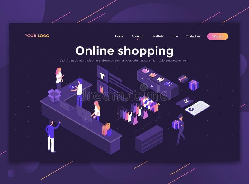 Vlak Modern ontwerp van websitemalplaatje die - online winkelen stock illustratie