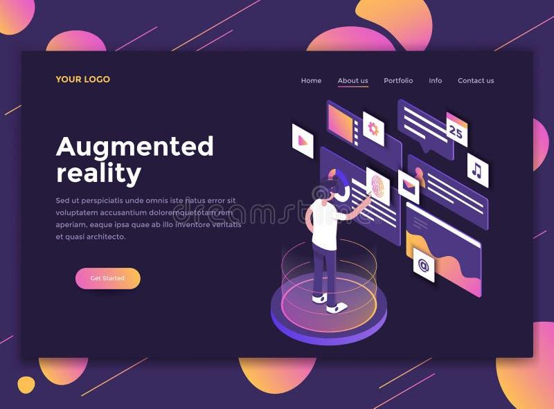 Vlak Modern ontwerp van websitemalplaatje - Vergrote werkelijkheid royalty-vrije illustratie