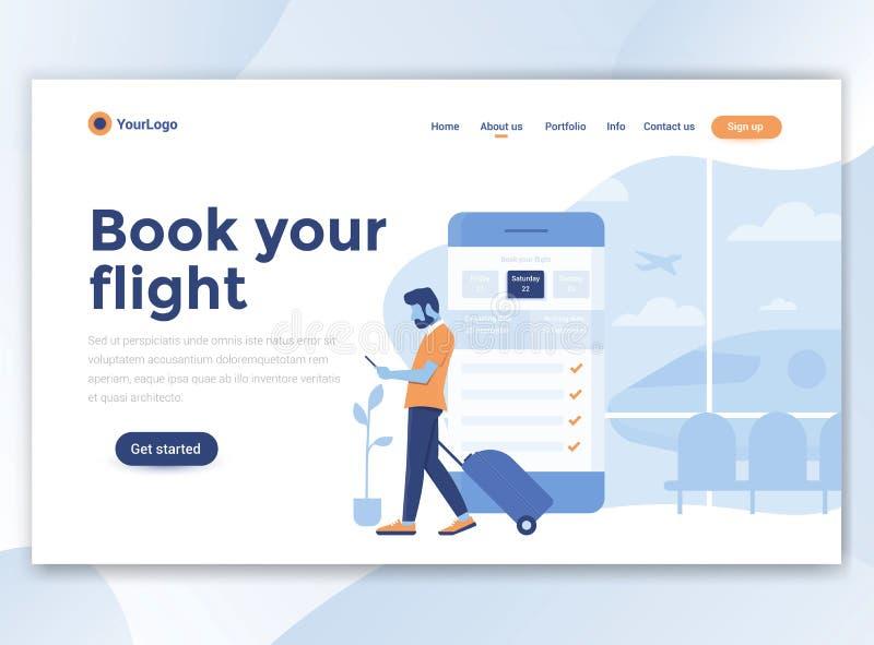 Vlak Modern ontwerp van wesitemalplaatje - boek uw vlucht stock illustratie
