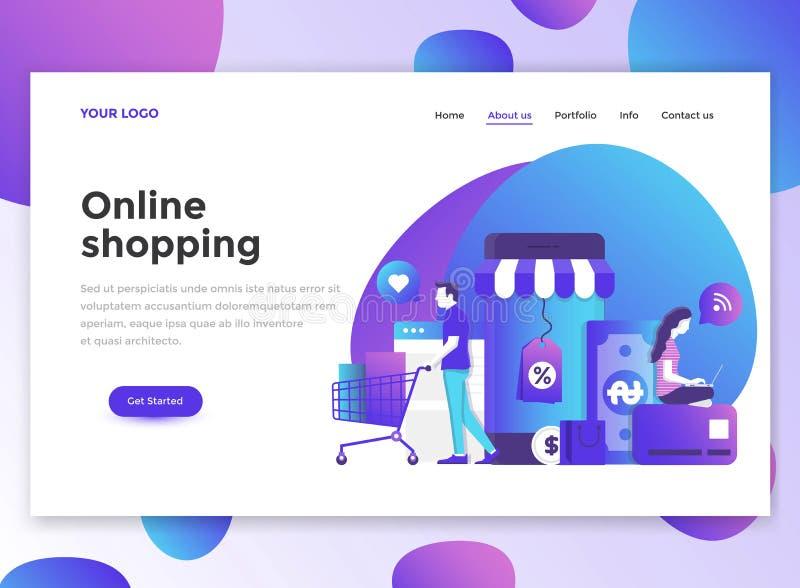 Vlak Modern ontwerp van wesitemalplaatje die - online winkelen vector illustratie