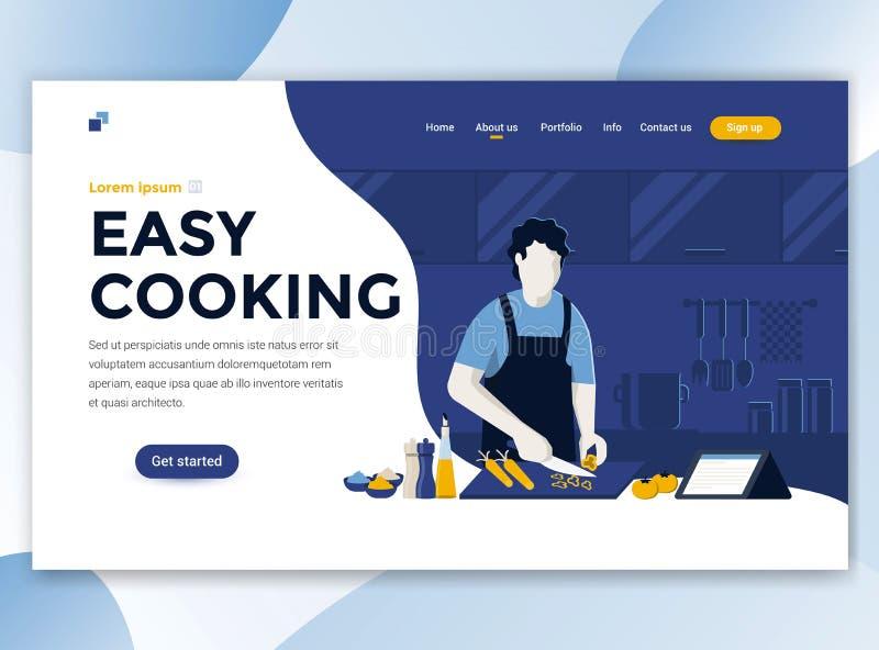 Vlak Modern ontwerp van wesitemalplaatje - het Gemakkelijke Koken vector illustratie