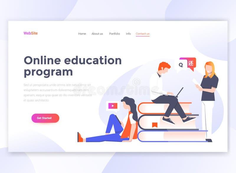 Vlak Modern ontwerp van wesitemalplaatje - Online onderwijsprogramma vector illustratie