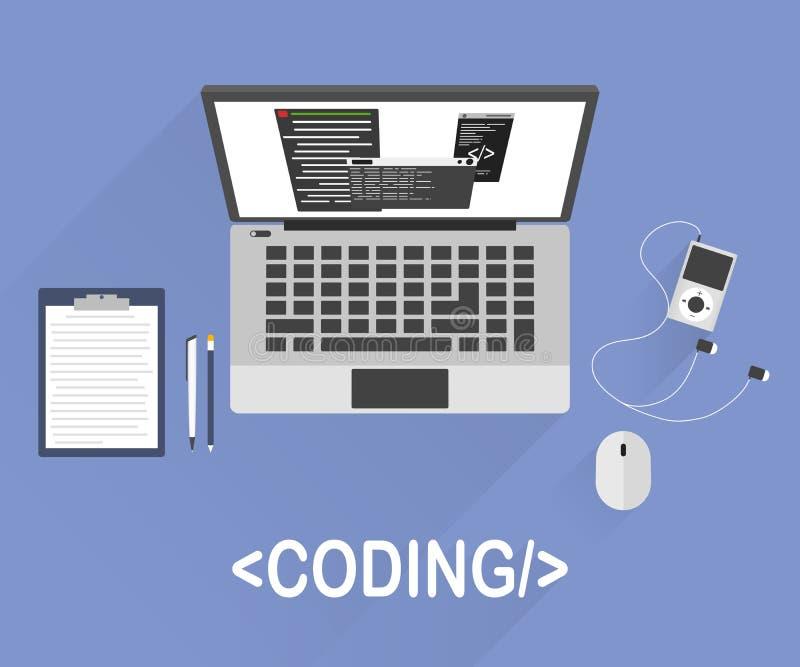 Vlak modern vector de illustratieconcept van de ontwerpstijl programmeur of codeurswerkschema voor websitecodage stock illustratie