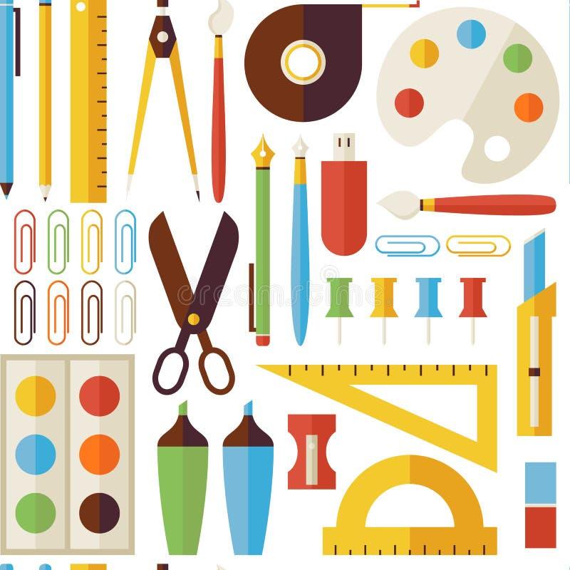 Vlak Naadloos Patroon terug naar Schoolvoorwerpen en Bureau Instrume stock illustratie
