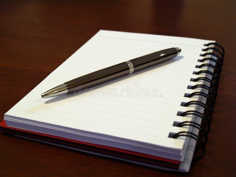 Vlak notitieboekje met pen1 stock foto