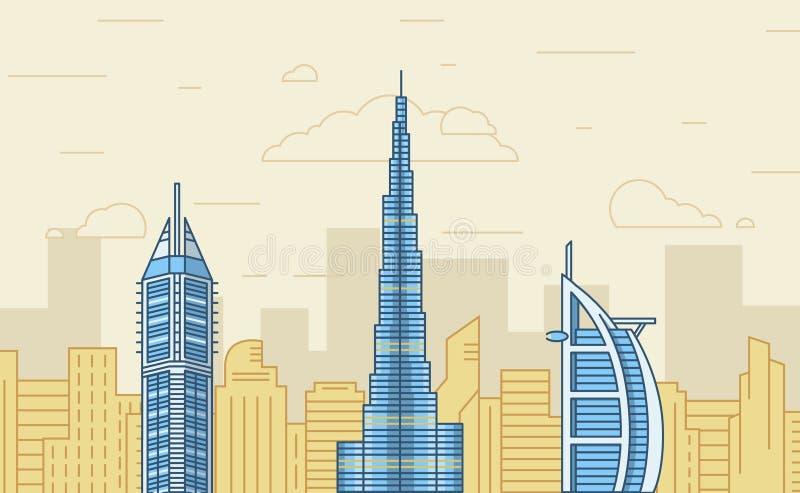 Vlak ontwerp Doubai, Emiraten Vector illustratie vector illustratie