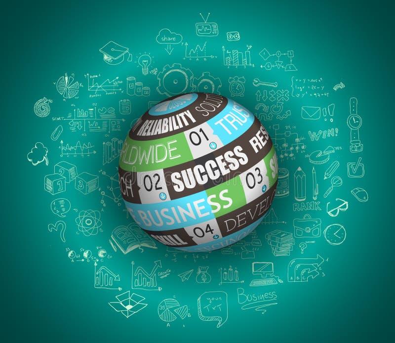 Vlak ontwerp en hand getrokken concepten voor bedrijfssucces stock illustratie